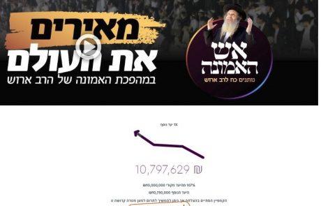 """בתוך 36 שעות גייסו מוסדות ברסלב 'חוט של חסד' למעלה מעשרה מליון ש""""ח"""